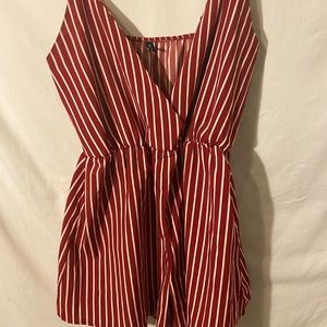 Red and White Striped Romper